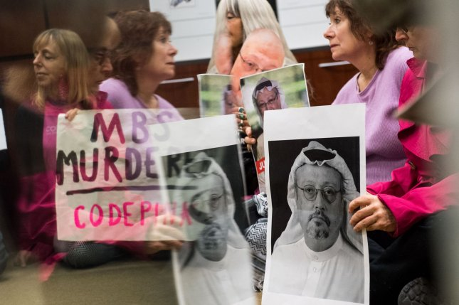 Members of the activist group Code Pink occupy U.S. Sen. Jack Reed's office to protest U.S. arms sales to Saudi Arabia Oct. 22 in the wake of the death of Washington Post columnist Jamal Khashoggi. Photo by Kevin Dietsch/UPI