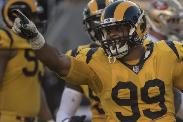 Los Angeles Rams defensive lineman Aaron Donald celebrates a sack during a game against the San Francisco 49ers at Levi's Stadium in Santa Clara, California on October 21, 2018. Photo by Terry Schmitt/UPI