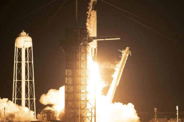 A SpaceX Falcon 9 rocket lifts off at 2:49 AM from Launch Complex 39A at the Kennedy Space Center, Fla., on March 2, 2019. Photo by Joe Marino-Bill Cantrell/UPI