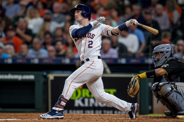 Houston Astros shortstop Alex Bregman hit his 22nd home run of the year Tuesday night. Photo by Trask Smith/UPI