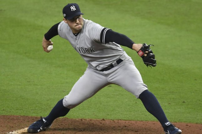 Former New York Yankees reliever Tommy Kahnle underwent Tommy John surgery in August. He is expected to return in late 2021 or at the beginning of the 2022 season. File Photo by Trask Smith/UPI