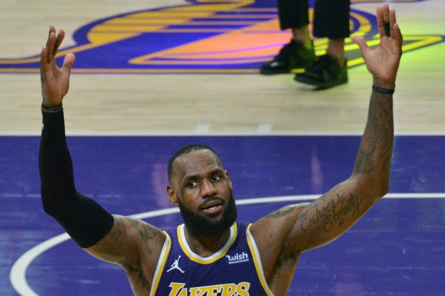 Los Angeles Lakers forward LeBron James joined Kareem Abdul-Jabbar and Karl Malone as the only players in NBA history to score 35,000 points in a loss to the Brooklyn Nets on Thursday in Los Angeles. File Photo by Jim Ruymen/UPI