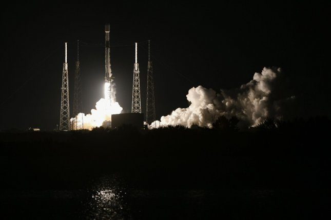 A SpaceX Falcon 9 rocket launches its 23rd set of Starlink satellites at 4:28 a.m. Wednesday from Cape Canaveral Space Force Station in Florida. Photo by Joe Marino/UPI