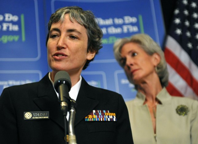 Director of the Centers for Disease Control's National Center for Immunization and Respiratory Diseases Anne Schuchat (L) speaks on the H1N1 Flu alongside Homeland Security Secretary Janet Napolitano after briefing members of congress on the government's plan for the coming flu season, on Capitol Hill in Washington on July 23, 2009. (UPI Photo/Kevin Dietsch)