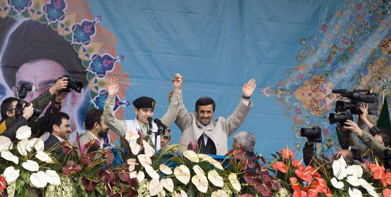 Iranian President Mahmoud Ahmadinejad arrives to speak during the 32nd anniversary of the Islamic Revolution in Tehran, Iran on February 11, 2011. UPI/Maryam Rahmanian.