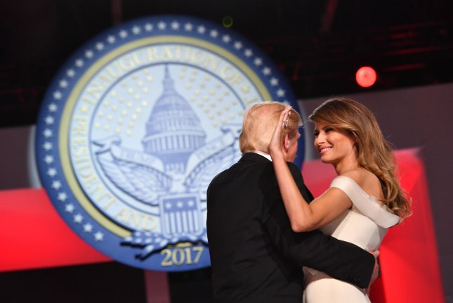 First lady Melania Trump, pictured here at the Freedom Ball on January 20, has agreed to a settlement in a defamation lawsuit she filed last summer against a Maryland blogger. As part of the agreement, the blogger, Webster Tarpley, issued an apology and agreed to pay an unspecified sum to the first lady. Photo by Kevin Dietsch/UPI