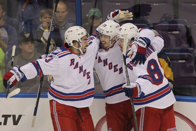 The New York Rangers broke out of their recent slump with a 5-2 win over the Florida Panthers on Tuesday night at the BB&T Center. File Photo by Bill Greenblatt/UPI