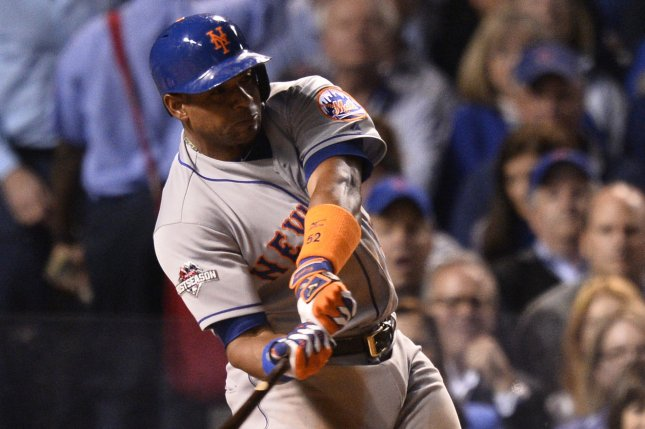 New York Mets' Yoenis Cespedes swings the bat. Cespedes helped the Mets upend the Phillies by hitting three home runs in just five innings Tuesday night. File Photo by Brian Kersey/UPI