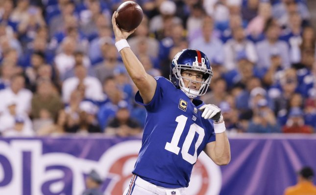 Eli Manning and the New York Giants take on the Arizona Cardinals on Sunday. Photo by John Angelillo/UPI
