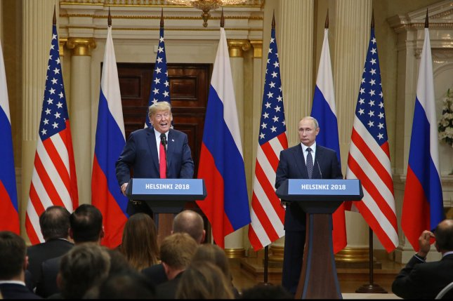 U.S. President Donald Trump speaks during a joint press conference with Russian President Vladimir Putin at the Presidential Palace in Helsinki, Finland, on Monday. Photo by David Silpa/UPI