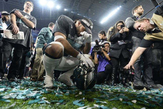 Former Philadelphia Eagles linebacker Mychal Kendricks (C) celebrates a 41-33 win over the New England Patriots during Super Bowl LII on February 4, 2018 at U.S. Bank Stadium in Minneapolis, Minnesota. Photo by Brian Kersey/UPI