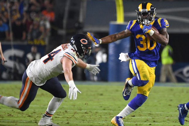 Los Angeles Rams running back Todd Gurley (R) had a season-high 25 carries during a win against the Chicago Bears Sunday in Los Angeles. Photo by Jon SooHoo/UPI