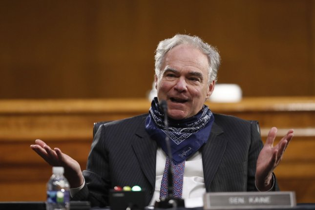 The Senate on Thursday failed to override President Donald Trump's veto of a War Powers resolution introduced by Sen. Tim Kaine, pictured, that would limit presidential authority to take military action without approval from CongressPool Photo by Andrew Harnik/UPI