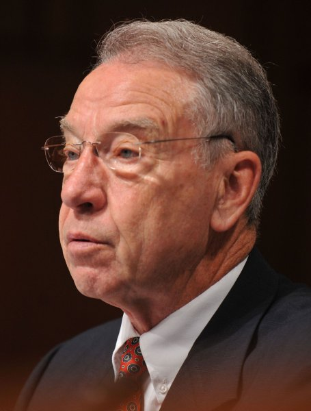 Sen. Charles Grassley speaks at a Senate hearing June 28, 2010. UPI/Kevin Dietsch