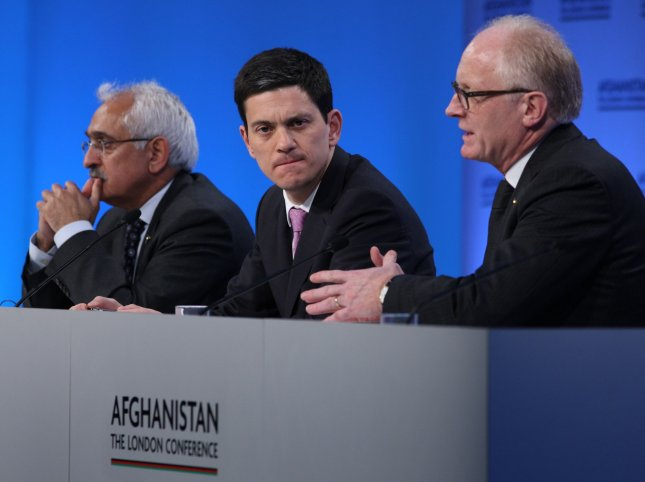 (L to R) Dr. Rangin Dadfar Spanta, adviser to Hamid Karzai, Britain's Foreign Secretary David Miliband, and United Nations Special representative Kai Eide talk to the press at the end of the London Conference on Afghanistan at Lancaster House in London on January 28, 2010. Foreign ministers from over 70 countries attended the conference on the future peace in Afghanistan with Britain's Prime Minister Gordon Brown, United Nations Secretary Ban Ki-moon, and Afghan President Hamid Karzai co-hosts. UPI/Hugo Philpott.