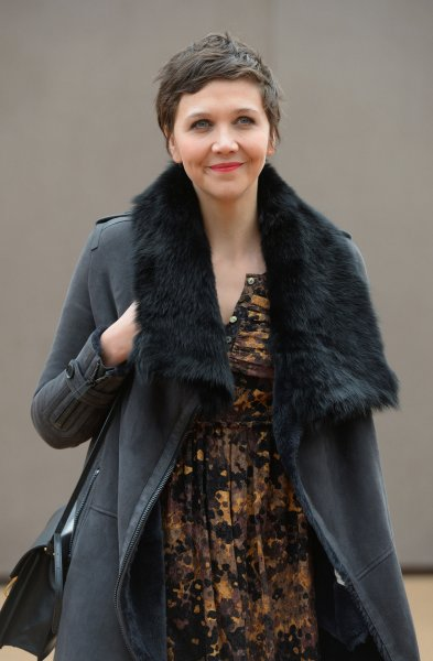 American actress Maggie Gyllenhaal attends the Burberry Prorsum A/W15 Catwalk Show in London on February 23, 2015. File photo by Paul Treadway/UPI