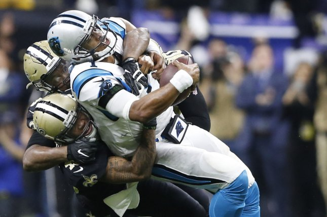 Carolina Panthers quarterback Cam Newton (1) is sacked in the fourth quarter by the New Orleans Saints defense during the Wild Card Playoff Game at the Mercedes-Benz Superdome in New Orleans January 7 , 2018. Photo by AJ Sisco/UPI