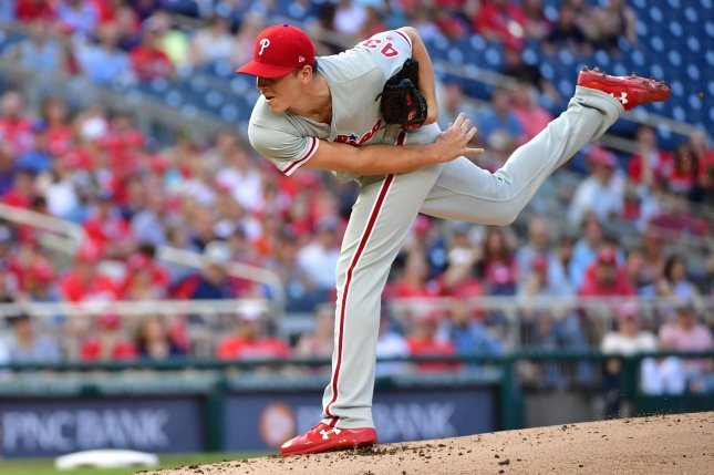 Philadelphia Phillies starting pitcher Nick Pivetta (43) pitches against the Washington Nationals in the first inning on May 4, 2018 at Nationals Park in Washington, D.C. Photo by Kevin Dietsch/UPI