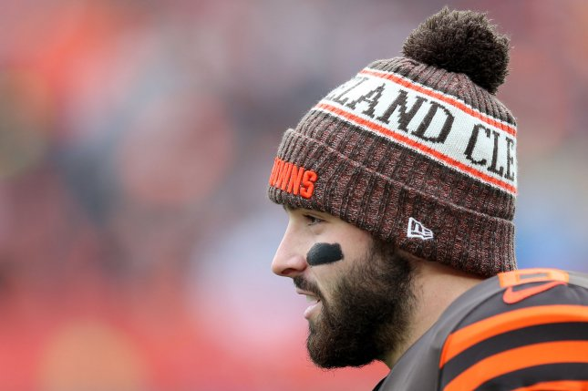 Baker Mayfield and the Cleveland Browns have a better chance to make the postseason in 2019 than eight playoff teams from 2018, according to an online sports book. File Photo by Aaron Josefczyk/UPI