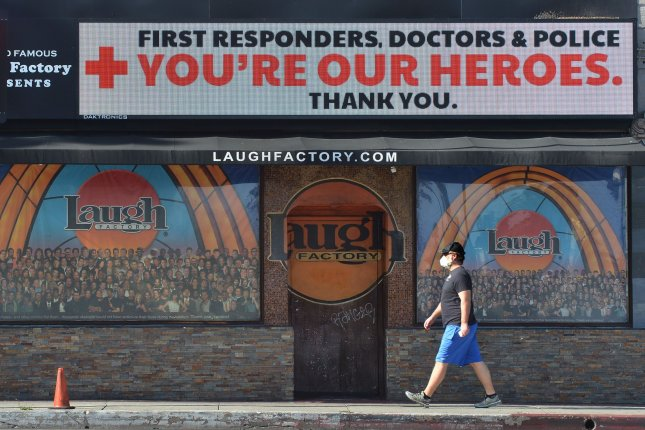 A sign at the Laugh Factory comedy club in Los Angeles, Calif., pictured on Sunday, thanks first responders, doctors and law enforcement for their efforts during the coronavirus emergency. Photo by Jim Ruymen/UPI