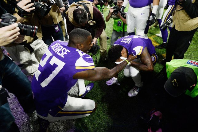 Former Minnesota Vikings defensive back Jayron Kearse (27) signed a one-year contract with the Detroit Lions in March after spending four seasons with the Vikings. File Photo by Brian Kersey/UPI