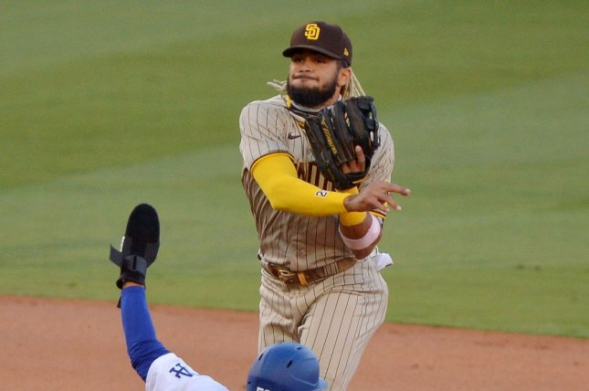 San Diego Padres shortstop Fernando Tatis Jr. will get an MRI and be re-evaluated for his shoulder injury on Tuesday in San Diego. File Photo by Jim Ruymen/UPI