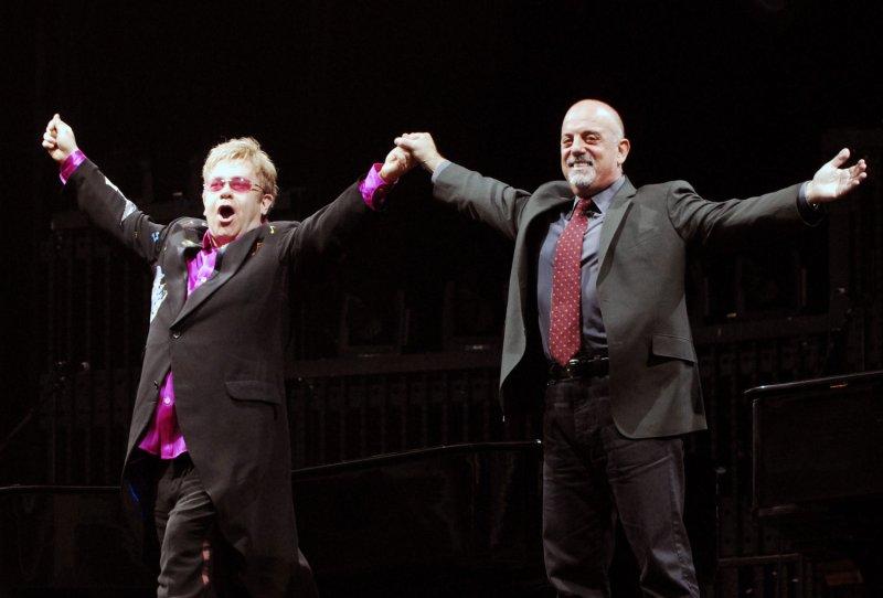 Elton John and Billy Joel arrive to perform at Nationals Park in Washington on July 11, 2009. UPI/Alexis C. Glenn