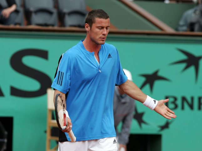 Marat Safin is dejected after losing a point to Josselin Ouanna of France in a second-round loss at the French Open May 27, 2009. (UPI Photo/Eco Clement)