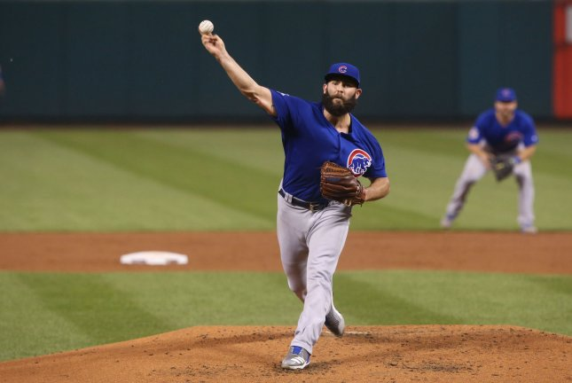 Chicago Cubs starting pitcher Jake Arrieta delivers a pitch to the St. Louis Cardinals in the second inning at Busch Stadium in St. Louis on September 26, 2017. File photo by Bill Greenblatt/UPI