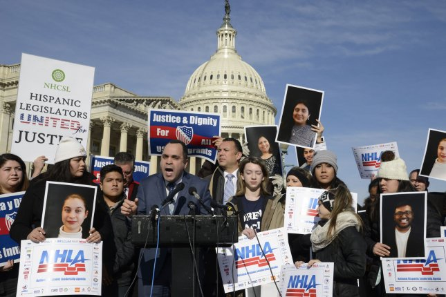 Hispanic Federation President Jose Calderon speaks before pro-immigration demonstrators outside the U.S. Capitol on January 19. The federation was one of 250 groups to sign a letter Tuesday urging Congress to reject any immigration bill that includes nativist demands. Photo by Mike Theiler/UPI