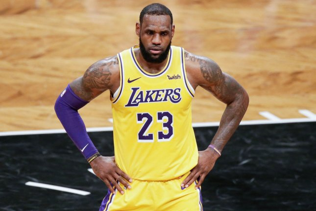 Los Angeles Lakers forward LeBron James stands on the court during a game against the Brooklyn Nets at Barclays Center on December 18 in New York City. Photo by John Angelillo/UPI