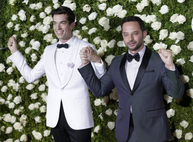 Actor-writers John Mulaney and Nick Kroll are celebrating the three-season renewal of their show Big Mouth. File Photo by John Angelillo/UPI