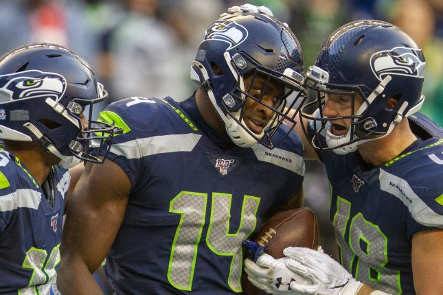 Seattle Seahawks wide receiver D.K. Metcalf (14) says time he spent together this off-season with quarterback Russell Wilson has led to the duo's improved bond as teammates. File Photo by Jim Bryant/UPI