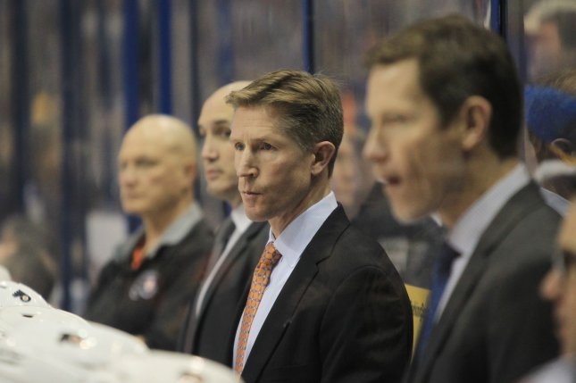 Former Philadelphia Flyers head coach Dave Hakstol (C), shown Dec. 28, 2016, served as an assistant coach for the Toronto Maple Leafs over the past two seasons. File Photo by Bill Greenblatt/UPI