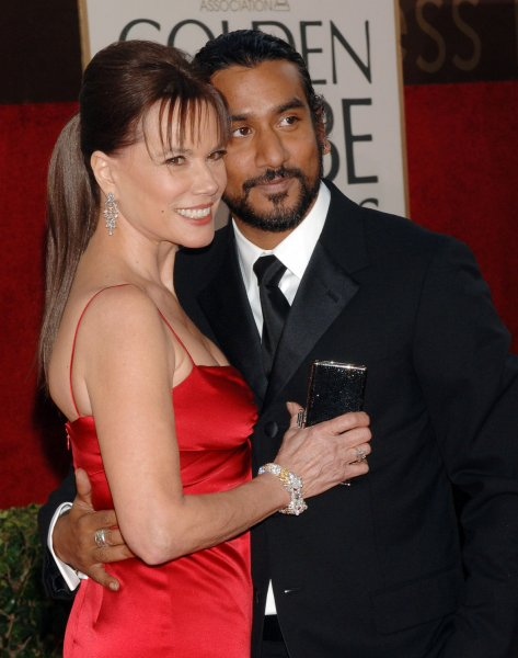 British actor Naveen Andrews, nominated for best supporting actor in a series, mini-series or television movie for his work on Lost, arrives with partner Barbara Hershey for the 63rd Annual Golden Globe Awards on Monday, Jan. 16, 2006, in Beverly Hills, Calif. (UPI Photo/Jim Ruymen)..