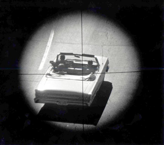 DALLAS, TEXAS, USA: This re-enactment of the assassination of President John F. Kennedy, using a four-power telescopic gunsight mounted with a 35mm camera, illustrates approximately what the assassin saw when he fired the fatal shots on November 22, 1963 that killed President Kennedy. The re-enactment was conducted on December 4, 1963. This Friday will mark the 50th anniversary of the assassination of President Kennedy on November 22, 1963. UPI/Files
