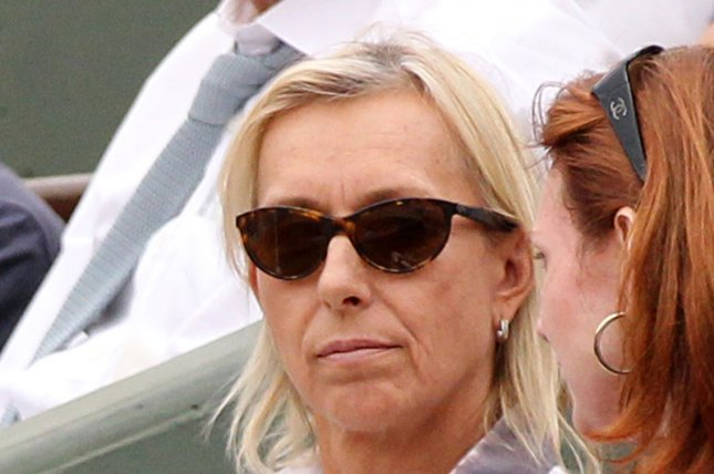 Martina Navratilova watches the French Open mens semifinal match between Roger Federer of Switzerland and Serbian Novak Djokovic at Roland Garros in Paris on June 3, 2011. Federer defeated Djokovic 7-6 (5), 6-3, 3-6, 7-6 (5) to advance to the finals. UPI/David Silpa
