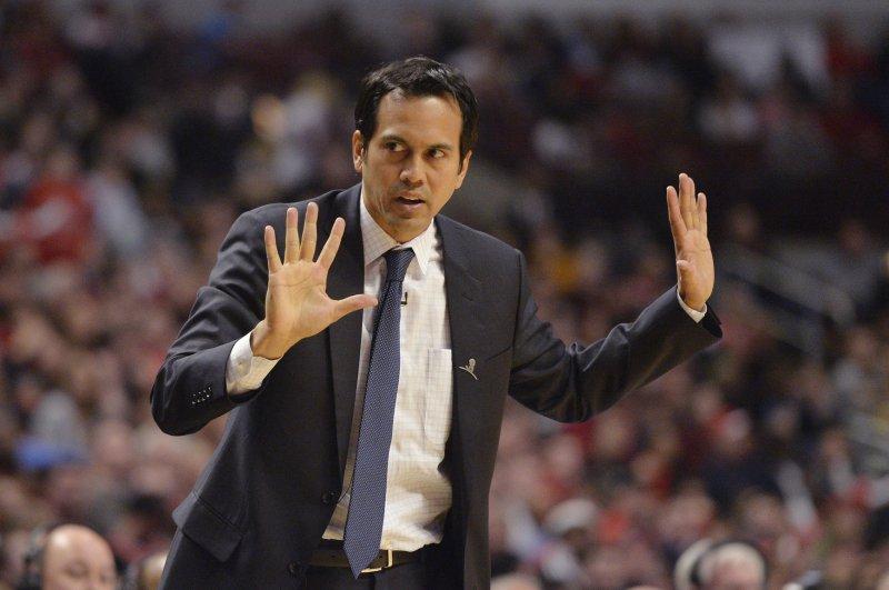 Miami Heat head coach Erik Spoelstra. UPI/Brian Kersey