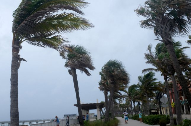 Palm trees sway in the wind as Hurricane Irma approaches Jupiter, Fla., on Saturday. A woman in Miami was forced to give birth to her baby daughter on her own when emergency officials weren't able to reach her home after she went into labor. Photo by Gary I Rothstein/UPI