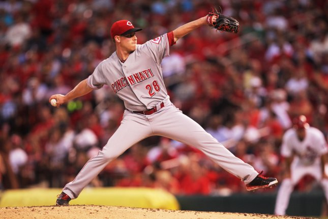 Anthony Desclafani and the Cincinnati Reds take on the San Francisco Giants on Friday. Photo by Bill Greenblatt/UPI