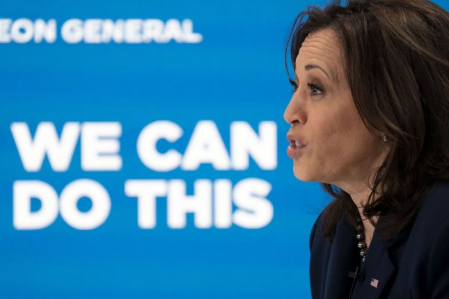 Vice President Kamala Harris meets virtually on Thursday with U.S. Surgeon General Dr. Vivek Murthy and community leaders to discuss COVID-19 education, at the South Court Auditorium in Washington, D.C. Photo by Leigh Vogel/UPI