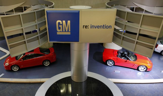 GM cars and trucks are displayed in the motor lobby at the General Motors global headquarters in the Renaissance Center on January 12, 2010 in Detroit, Michigan. UPI/Brian Kersey