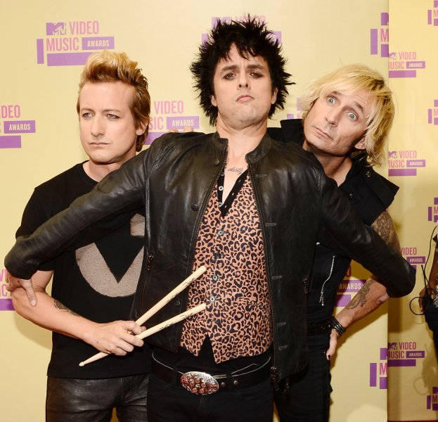Tre Cool, Billie Joe Armstrong and Mike Dirnt of Green Day arrive for the MTV Video Music Awards at Staples Center in Los Angeles on September 6, 2012. UPI/Jim Ruymen