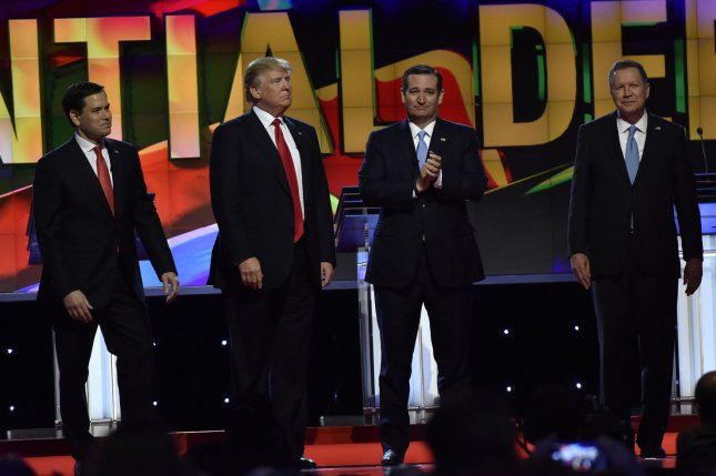 From left to right, Sen. Marco Rubio, Donald Trump, Sen.Ted Cruz and Gov. John Kasich appear on the debate stage at the CNN and The Washington Times debate Thursday at the University of Miami. Voters in Florida will go to the polls March 15 for the state's primary. Photo by Gary I Rothstein/UPI
