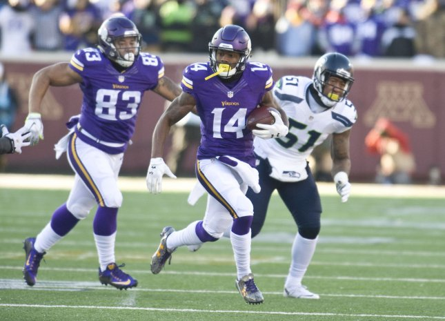 Minnesota Vikings wide receiver Stefon Diggs (14) may have to sit out the Thanksgiving Day matchup against the Detroit Lions. Photo by Marilyn Indahl/UPI
