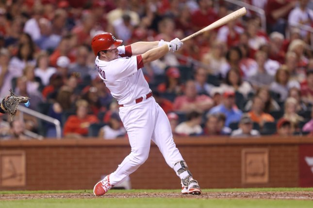 St. Louis Cardinals Jedd Gyorko swings, hitting a two run home run against the San Diego Padres in the fourth inning at Busch Stadium in St. Louis on August 22, 2017. File photo by Bill Greenblatt/UPI