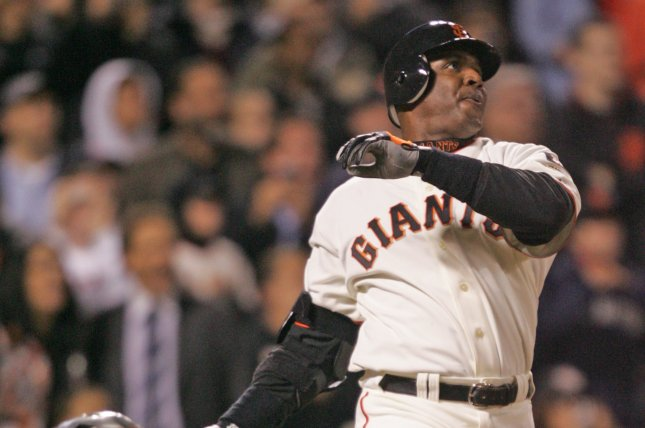 Former San Francisco Giants outfielder Barry Bonds missed the Hall of Fame again, but had his vote totals increase once more on Tuesday. File photo by Aaron Kehoe/UPI