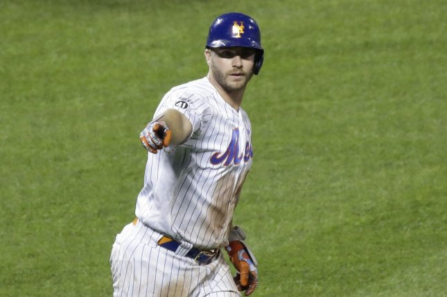 New York Mets first baseman Pete Alonso did not hit a home run last preseason, but hit a grand slam in a spring training game Thursday in Port St. Lucie, Fla. File Photo by John Angelillo/UPI