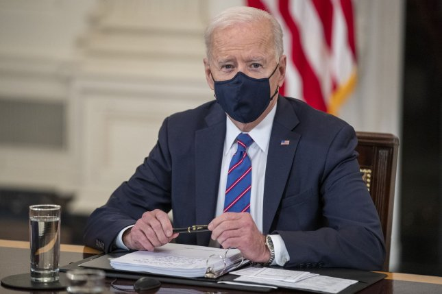 The states accuse President Joe Biden of attacking oil and gas jobs when he signed executive orders pausing the leasing of new projects in late January. Pool photo by Shawn Thew/UPI