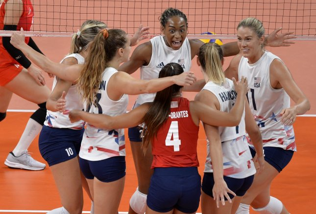 Team USA advances to the semifinals on Wednesday after beating the Dominican Republic in straight sets at the Tokyo 2020 Olympics, in Tokyo, Japan. Photo by Mike Theiler/UPI